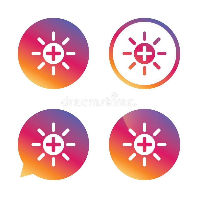 Sol plus teckensymbol Runda metalliska knappar brina royaltyfri illustrationer