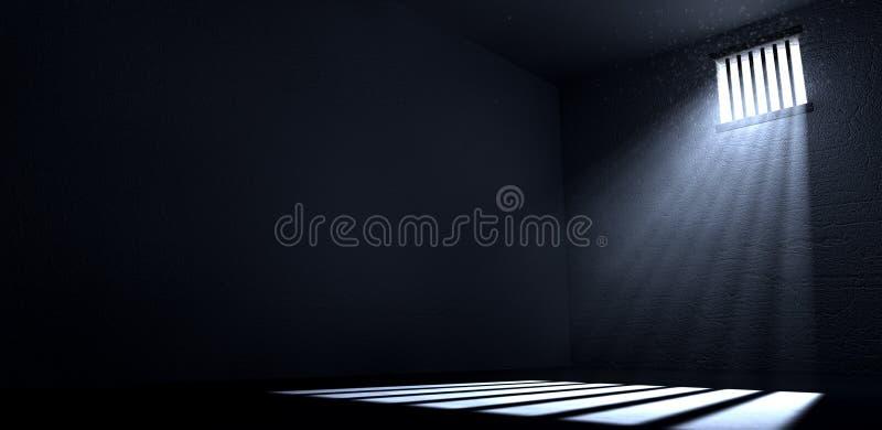 Sol que brilla en ventana de la celda de prisión ilustración del vector