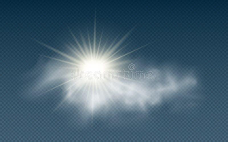 Sol realista con las nubes aisladas en un fondo transparente Luz del sol Rayos de Sun Nubes transparentes Ilustración del vector stock de ilustración