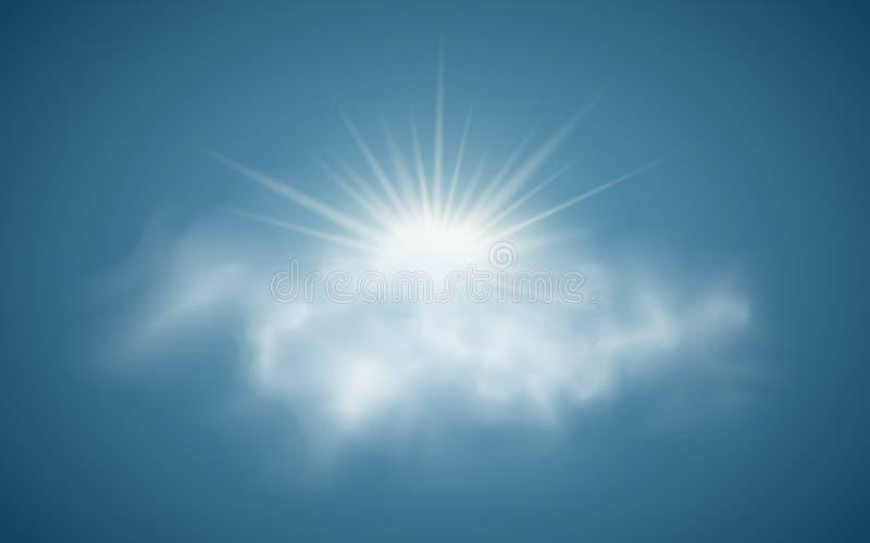 Sol realista con las nubes Luz del sol Rayos de Sun Nubes transparentes Ilustración del vector Adultos jovenes Ilustración del ve ilustración del vector