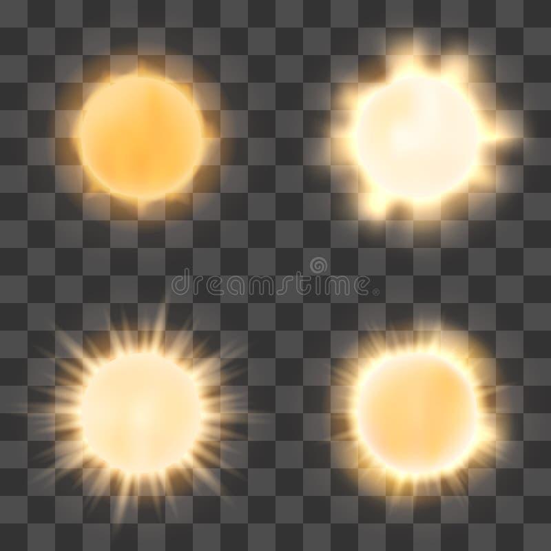 Sol realista en fondo transparente ilustraci n del vector for Fondo del sol