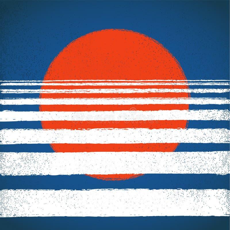 Sol rojo y mar azul, puesta del sol, horizonte, fondo geométrico abstracto Ejemplo del vector, elemento del diseño para ilustración del vector