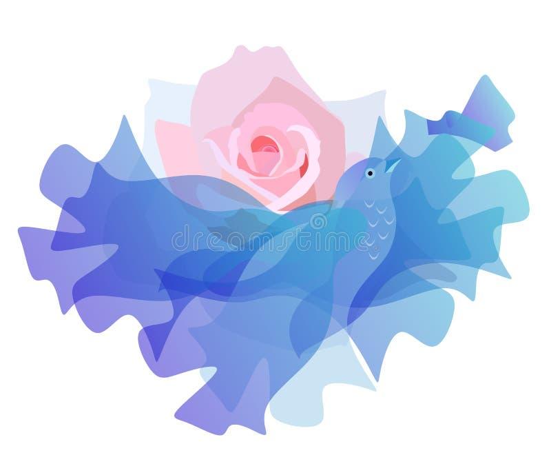 Sol rosado de la salida del sol bajo la forma de flor color de rosa y nube, como un pájaro azul que vuela libre illustration