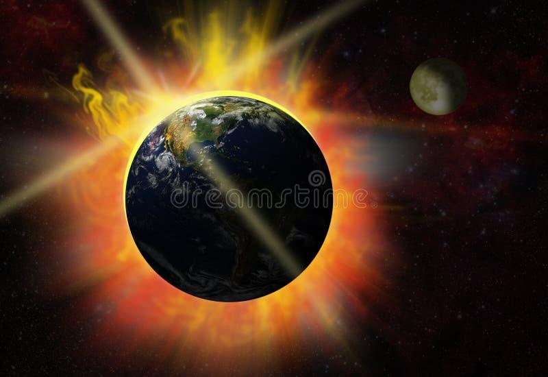 sol- signalljus vektor illustrationer