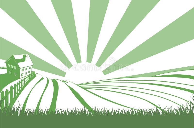 Sol sobre campos de la colina ilustración del vector