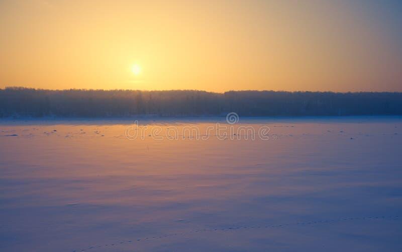 Sol sobre a floresta siberiana e rio Tom sob neve e gelo à noite por pôr do sol no inverno imagens de stock