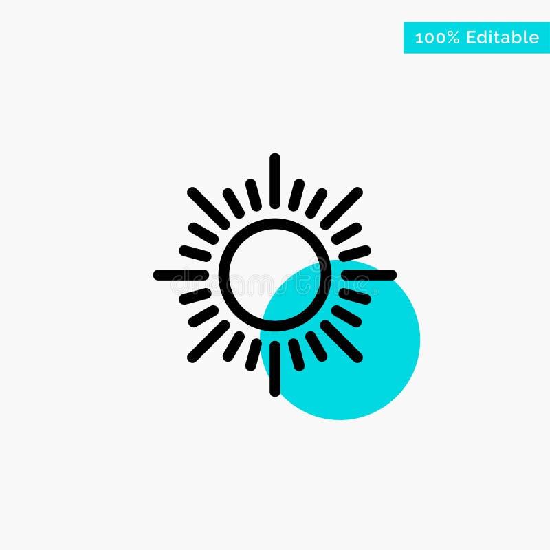 Sol soluppgång, symbol för vektor för punkt för cirkel för solnedgångturkosviktig stock illustrationer