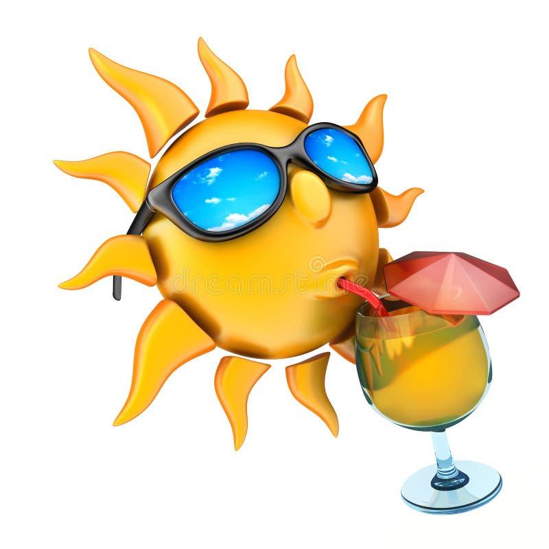 Sol som dricker fruktsaft och exponeringsglas stock illustrationer