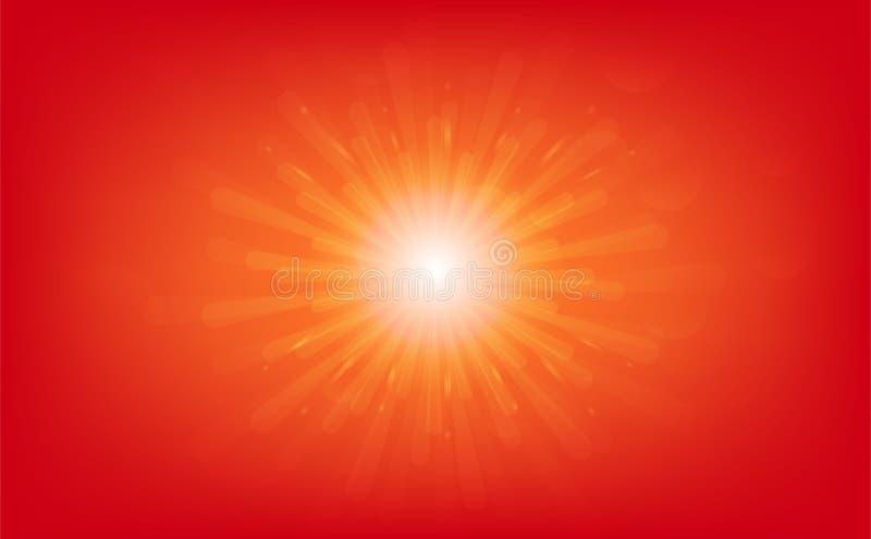 Sol som stiger, stjärnabristning, ljusa strålar skinande effekt, abstrakt bakgrundsvektorillustration royaltyfri illustrationer