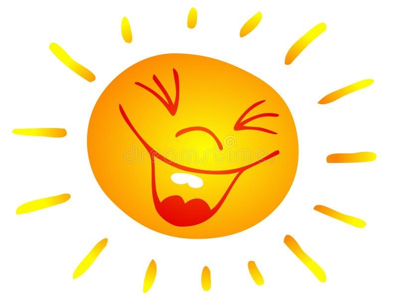 Sol sonriente stock de ilustración