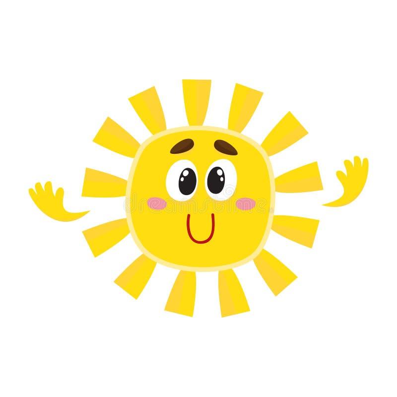 Sol sonriente con los ojos grandes, ejemplo aislado del vector de la historieta ilustración del vector
