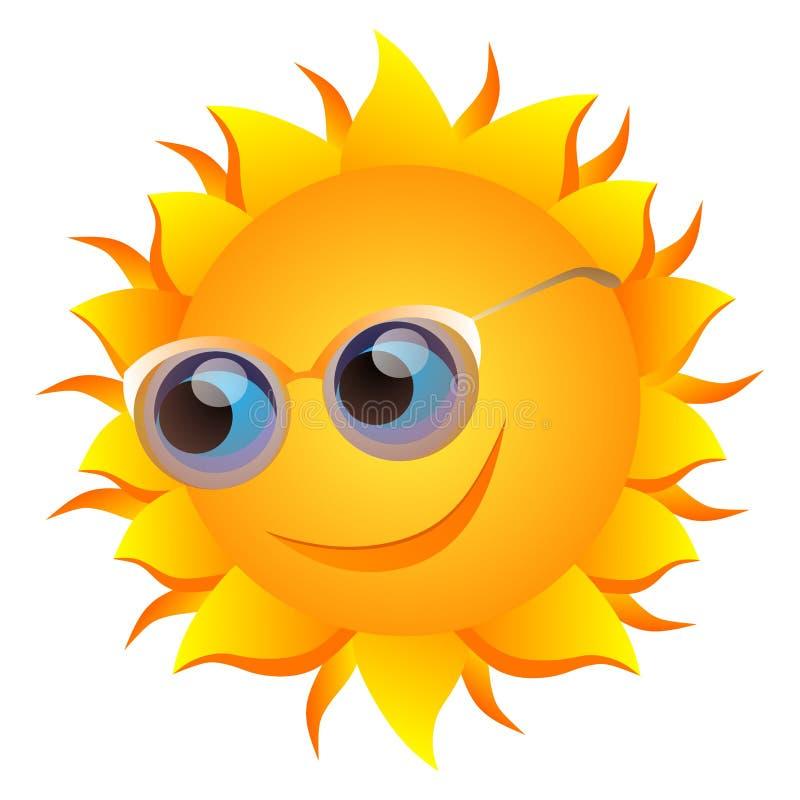 Sol sonriente con los vidrios libre illustration