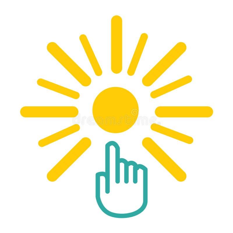 Sol- symbol f?r logo f?r energi f?r sol f?r elkraftpropp vektor illustrationer