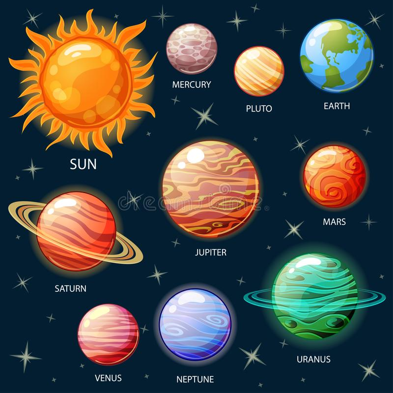 sol- system för planet royaltyfri illustrationer