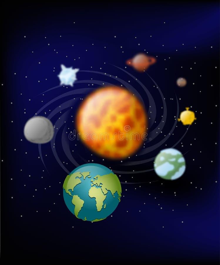 sol- system för planet Moon och jord Jupiter och fördärvar sun vektor illustrationer