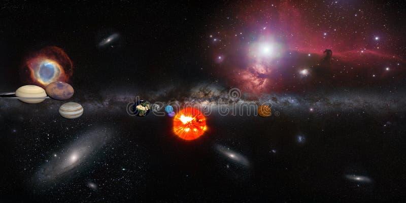 Sol- system med den milky långt galaxen och många annan royaltyfri illustrationer