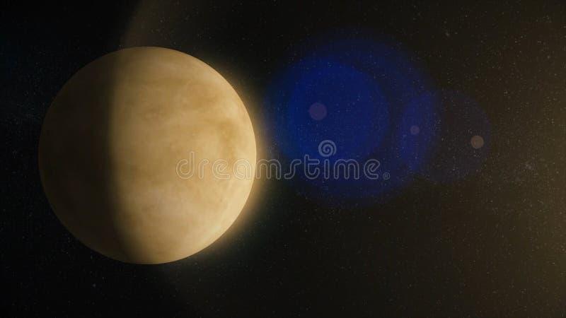 sol- systemvenus Det är den andra planeten från solen Det är en jordisk planet Efter månen är det royaltyfria foton