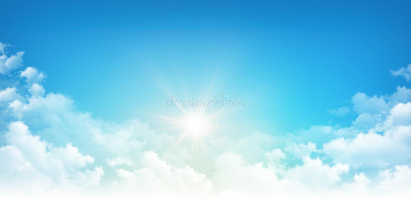Sol a través de las nubes blancas fotografía de archivo