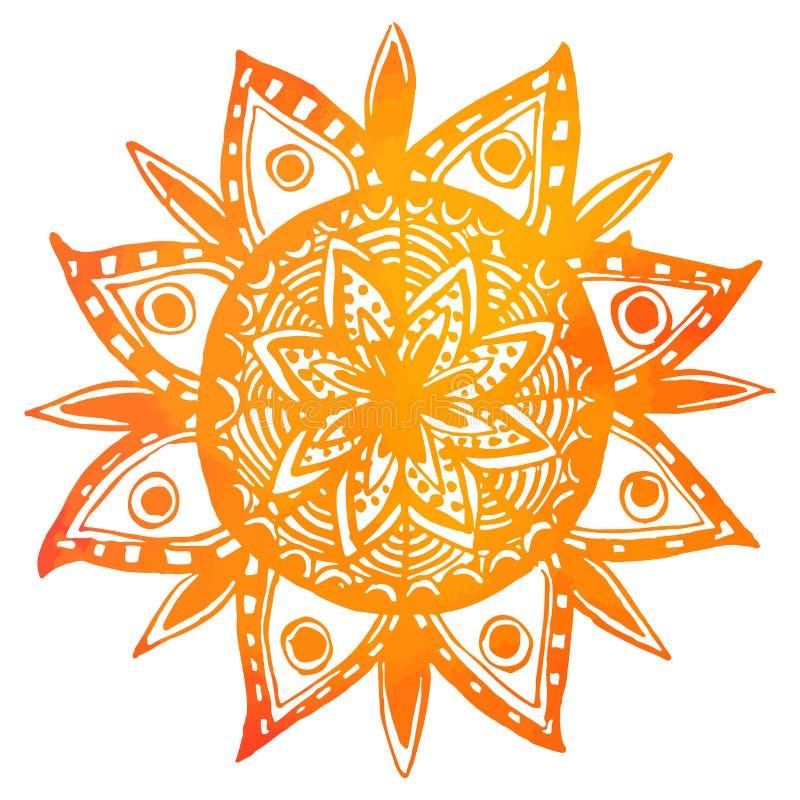 Sol tribal tirado mão da aquarela alaranjada Vetor ilustração stock