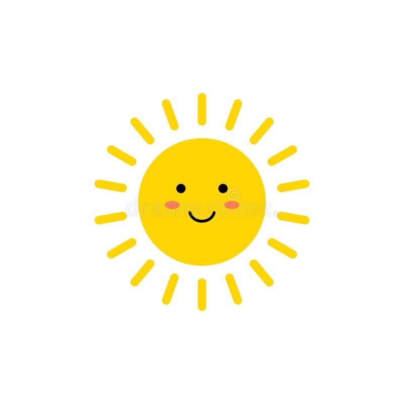 Sol - vektorsymbol Gullig gul sol med att le framsidan Emoji Sommaremoticon ocks? vektor f?r coreldrawillustration royaltyfri illustrationer