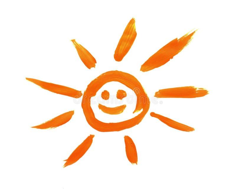 Sol vermelho pintado pela criança isolado imagens de stock