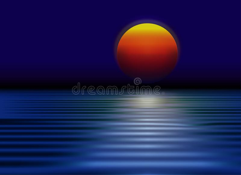 Sol vermelho, por do sol com reflexão no papel de parede da água ilustração royalty free