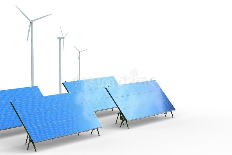 sol- wind för alternativ för bakgrundsbegrepp digital illustration för energi royaltyfri illustrationer