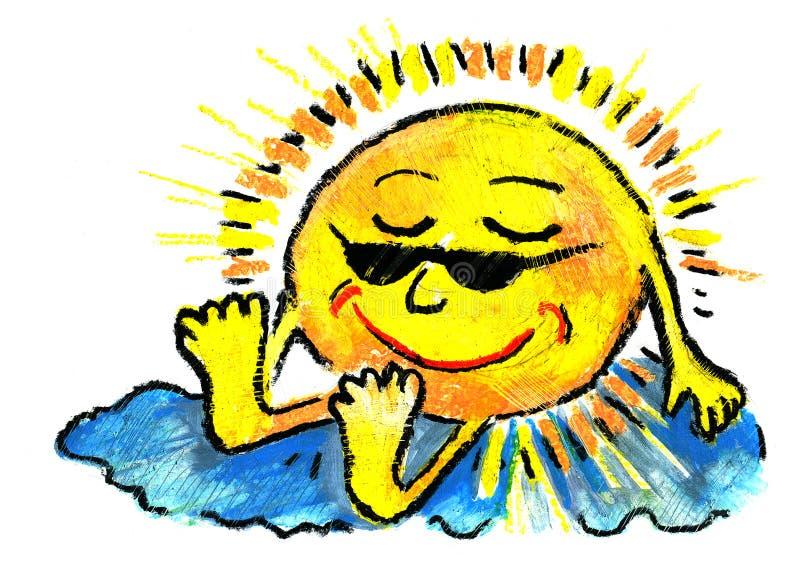 Sol Y Cielo Y Quemadura Y Resto Foto de archivo libre de regalías