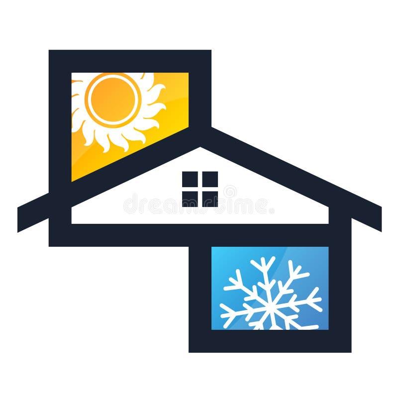 Sol y copo de nieve del aire acondicionado stock de ilustración