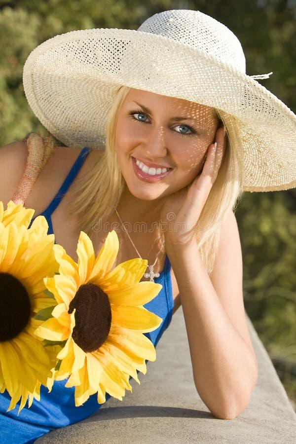 Sol y girasoles imagen de archivo libre de regalías