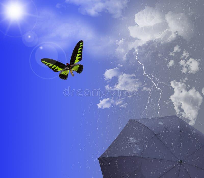Sol y lluvia ilustración del vector