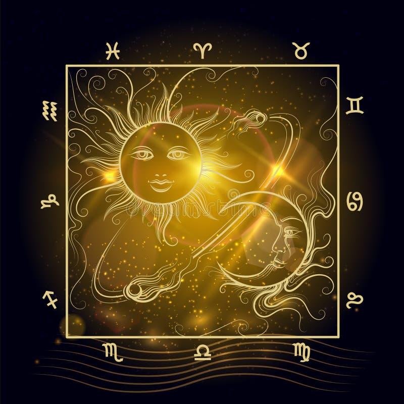 Sol y luna brillantes del mapa de la astrología libre illustration