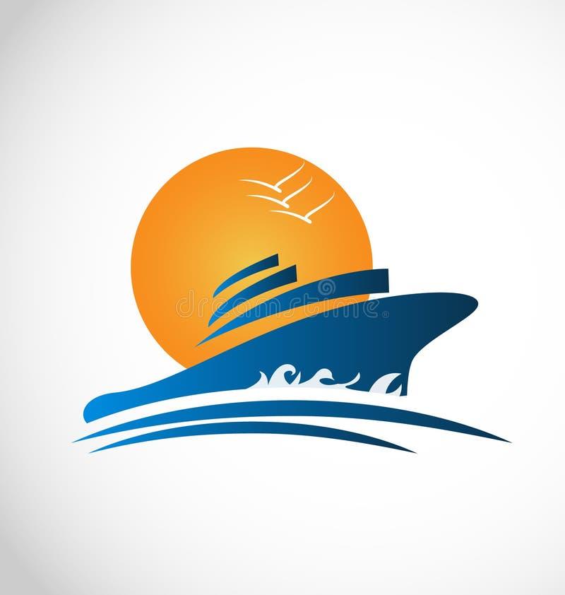 Sol y ondas del barco de cruceros ilustración del vector