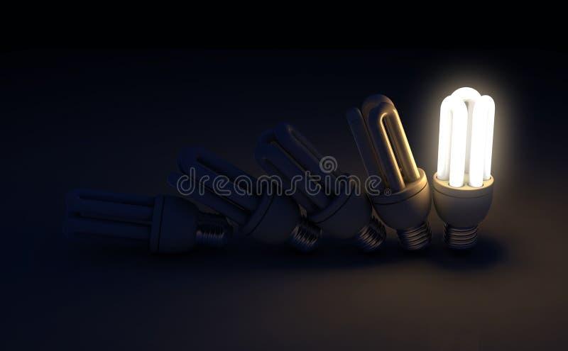 Sola bombilla iluminada en fila fotografía de archivo libre de regalías