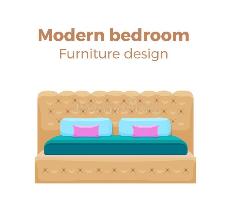 Sola cama colorida con las almohadas y la manta stock de ilustración