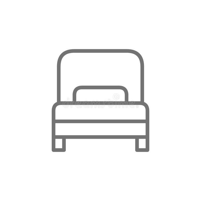 Sola cama, l?nea icono de la habitaci?n stock de ilustración