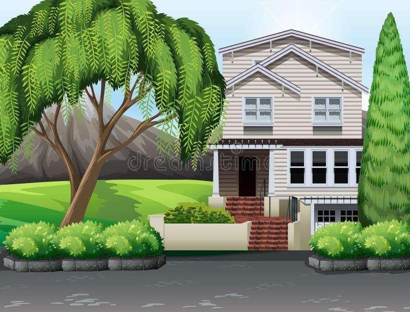 Sola casa con el patio trasero stock de ilustración