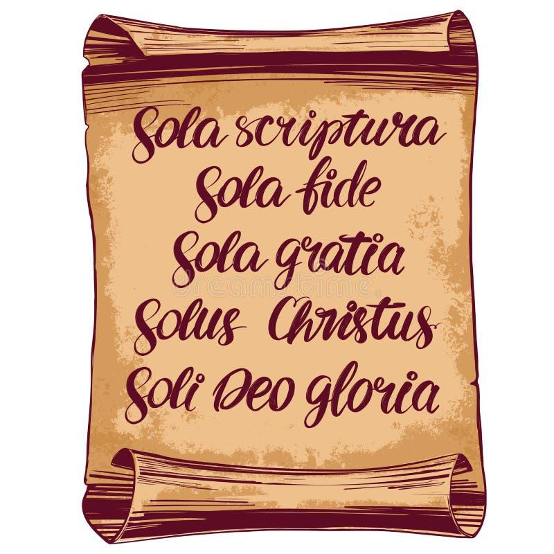 Sola di Quinque, cinque fondamenti della teologia protestante, riforma, simbolo del testo dell'iscrizione di calligrafia di Crist illustrazione vettoriale