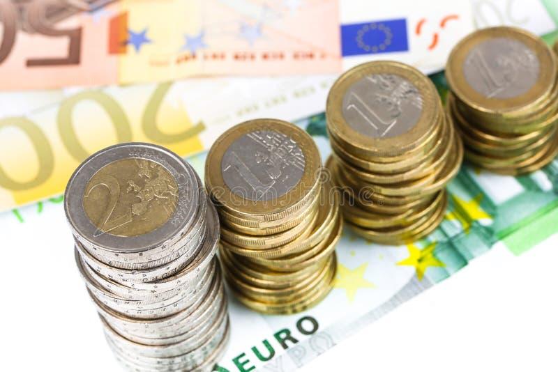 Sola disminución europea de la moneda fotos de archivo