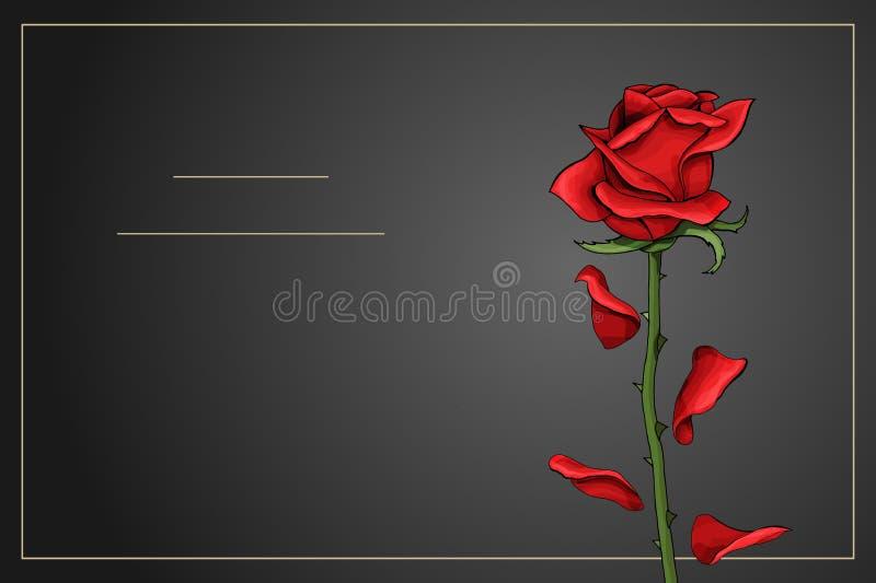 Sola flor color de rosa roja en plantilla gris oscuro del vector del fondo libre illustration