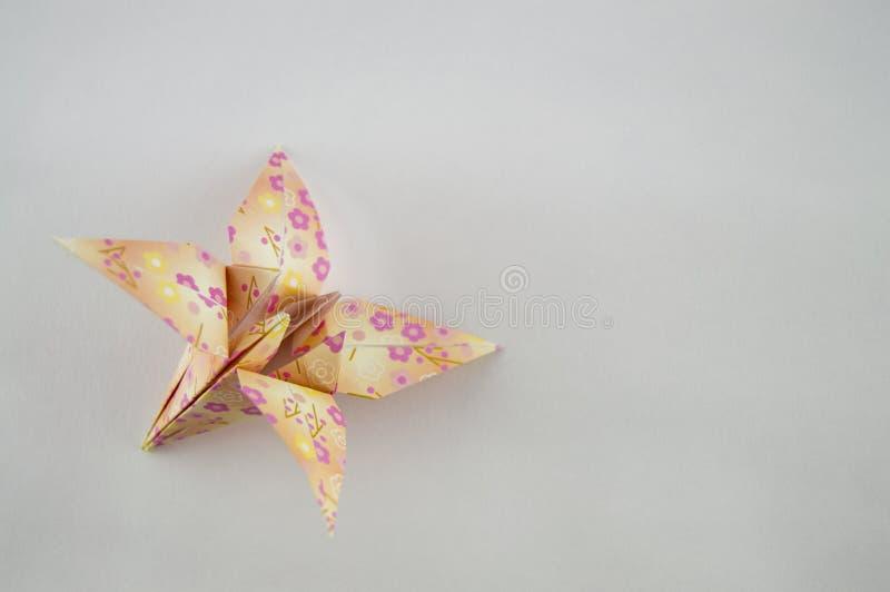 Sola flor de la papiroflexia en el fondo blanco fotografía de archivo