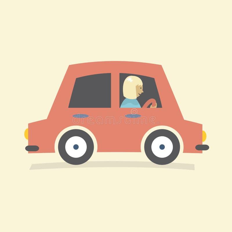 Sola impulsión de la mujer un coche libre illustration