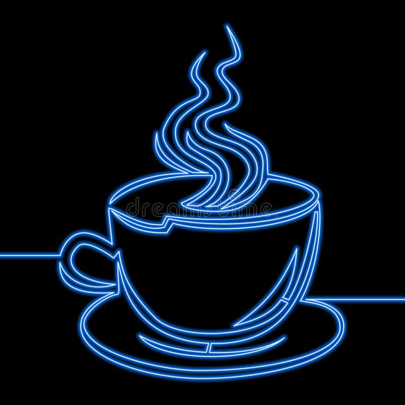 Sola línea continua concepto de neón de la taza de café stock de ilustración