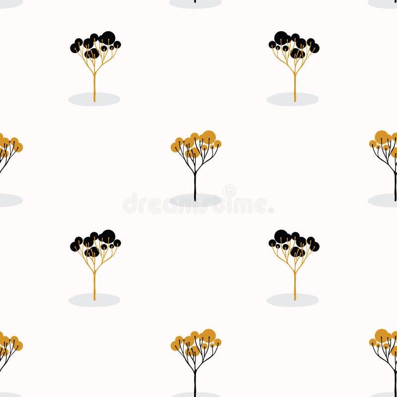 Sola madera estilizada del árbol que repite la naranja inconsútil del modelo stock de ilustración