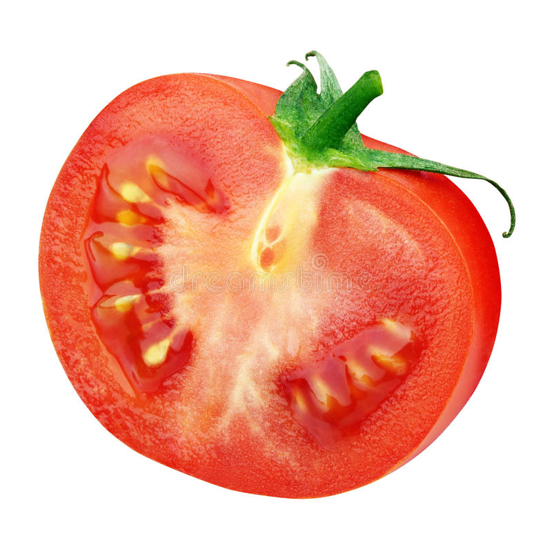 Sola mitad del tomate rojo en blanco fotos de archivo