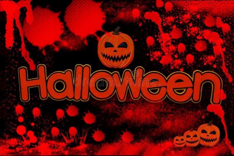 Sola palabra de Halloween con sangre en negro ilustración del vector