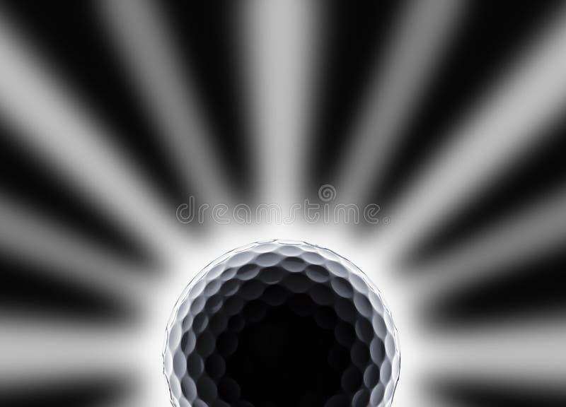 Sola pelota de golf con la estrella y el eclipse como efecto sobre negro imagenes de archivo
