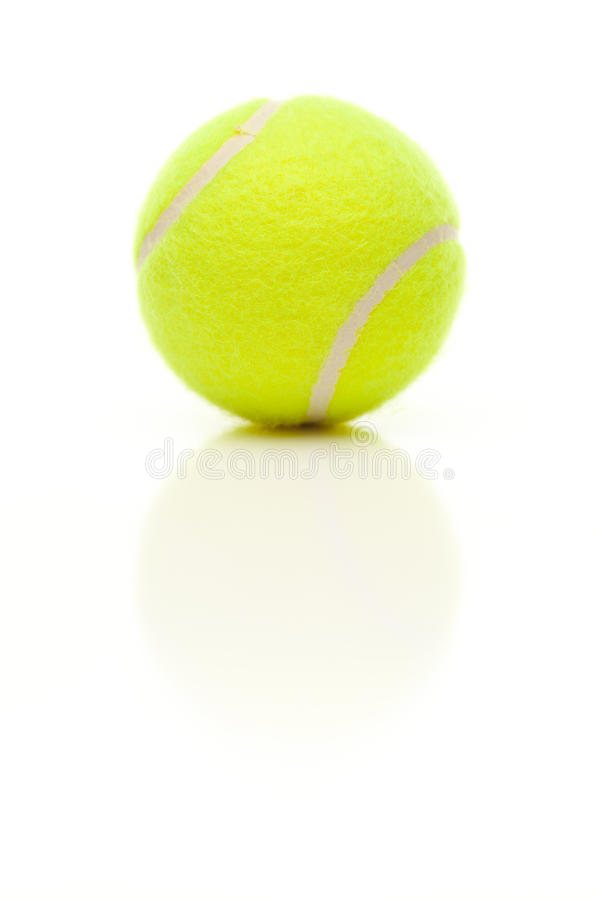 Sola pelota de tenis en blanco con la reflexión leve imágenes de archivo libres de regalías