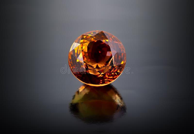 Sola piedra preciosa citrina redonda. fotografía de archivo