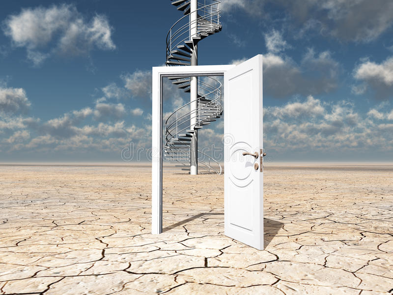 Sola puerta en desierto ilustración del vector